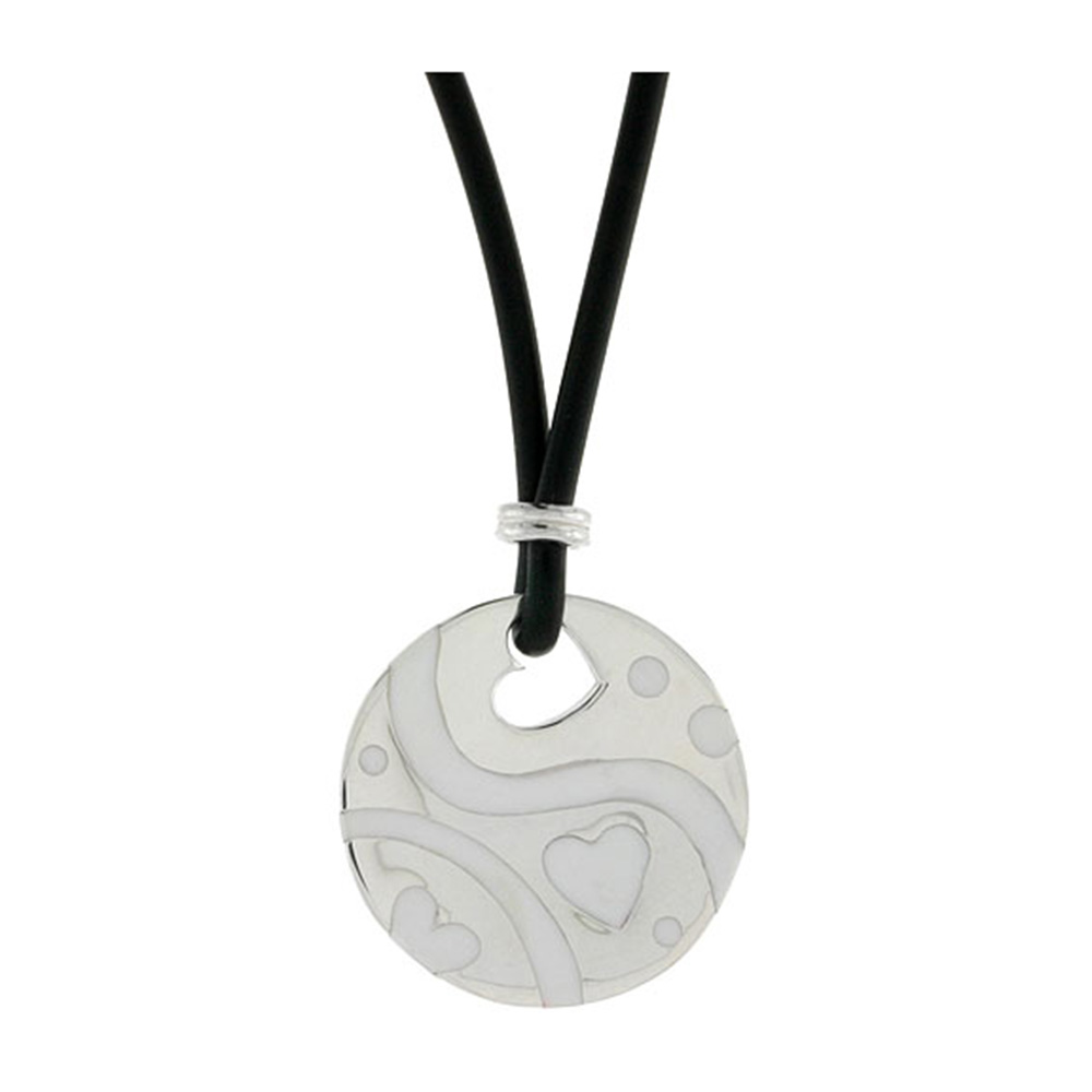 Sterling Silver Hearts Round Disc Pendant on Rubber Necklace White Enamel, 20 inches long