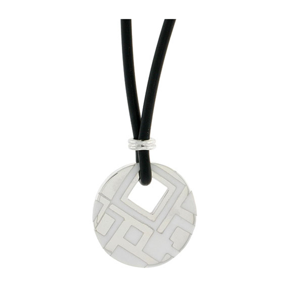 Sterling Silver Geometric Pattern Round Disc Pendant on Rubber Necklace White Enamel, 20 inches long