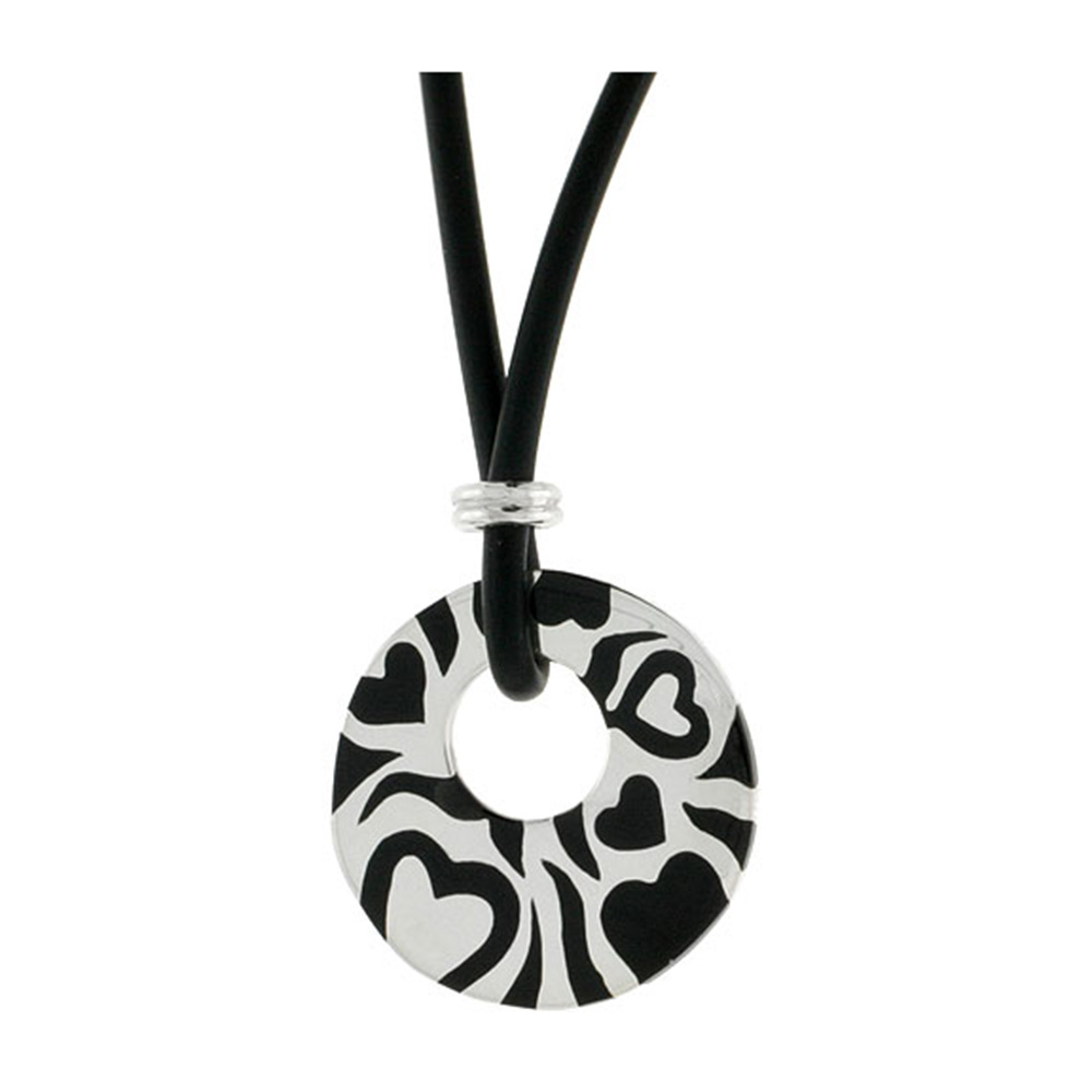 Sterling Silver Hearts Round Disc Pendant on Rubber Necklace Black Enamel, 20 inches long