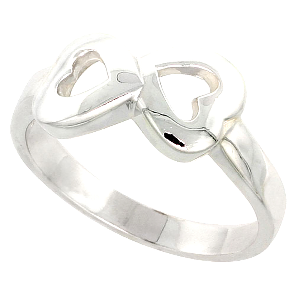 Sterling Silver 2 Heart Cut-out Ring Flawless finish 3/8 inch wide, sizes 6 to 10