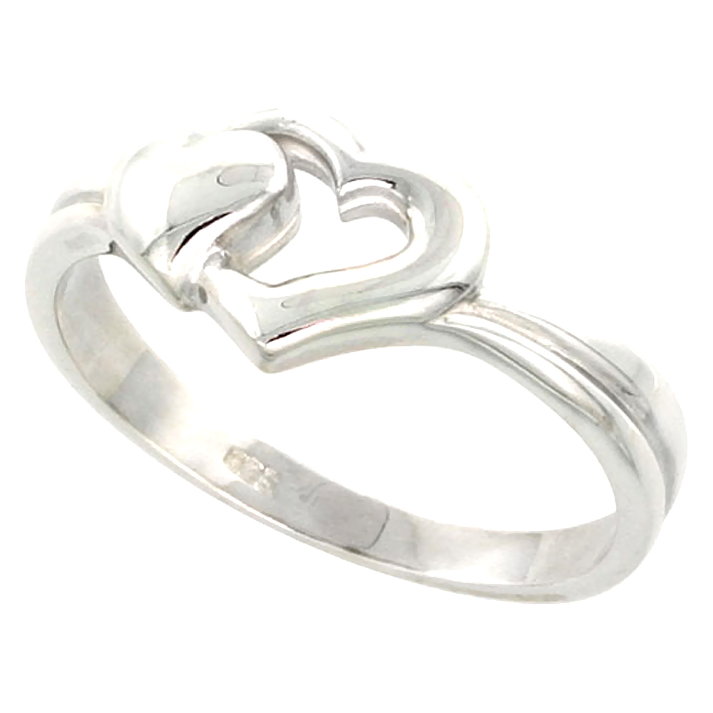 Sterling Silver 2 Heart Ring Flawless finish 3/8 inch wide, sizes 6 to 10