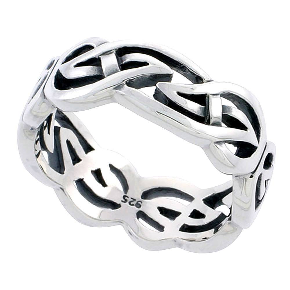 Gents Sterling Silver Celtic Knot Wedding Band Ring Flawless Finish 5/16 inch wide, sizes 9 to 14