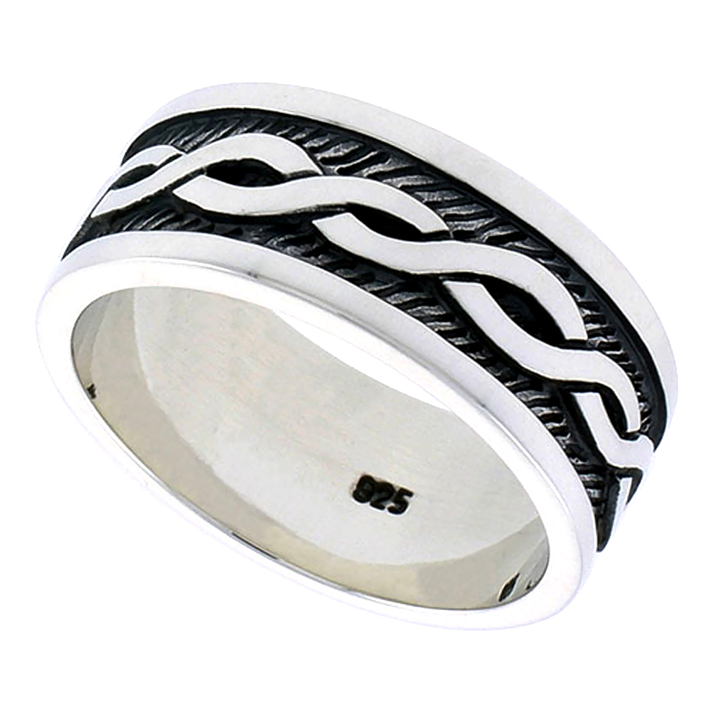 Gents Sterling Silver Celtic Knot Ring Flawless finish 3/8 inch wide, sizes 9 to 14