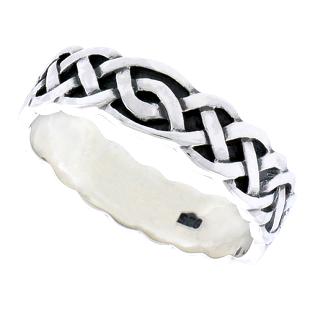 Gents Sterling Silver Celtic Knot work Interlace Ring Flawless finish 1/4 inch wide, sizes 9 to 14
