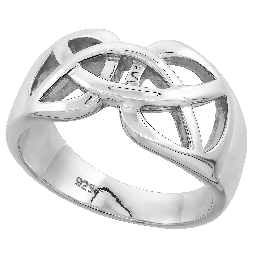 Gents Sterling Silver Celtic Knot cut-out Wedding Ring for Him and Her Flawless finish 1/2 inch wide, sizes 9 to 14