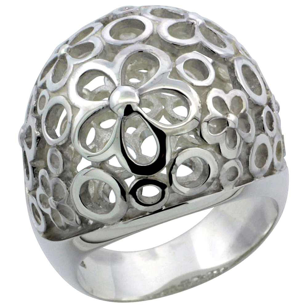 Ladies Sterling Silver Large Flower Gallery Ring 7/8 inch wide, sizes 6 - 10