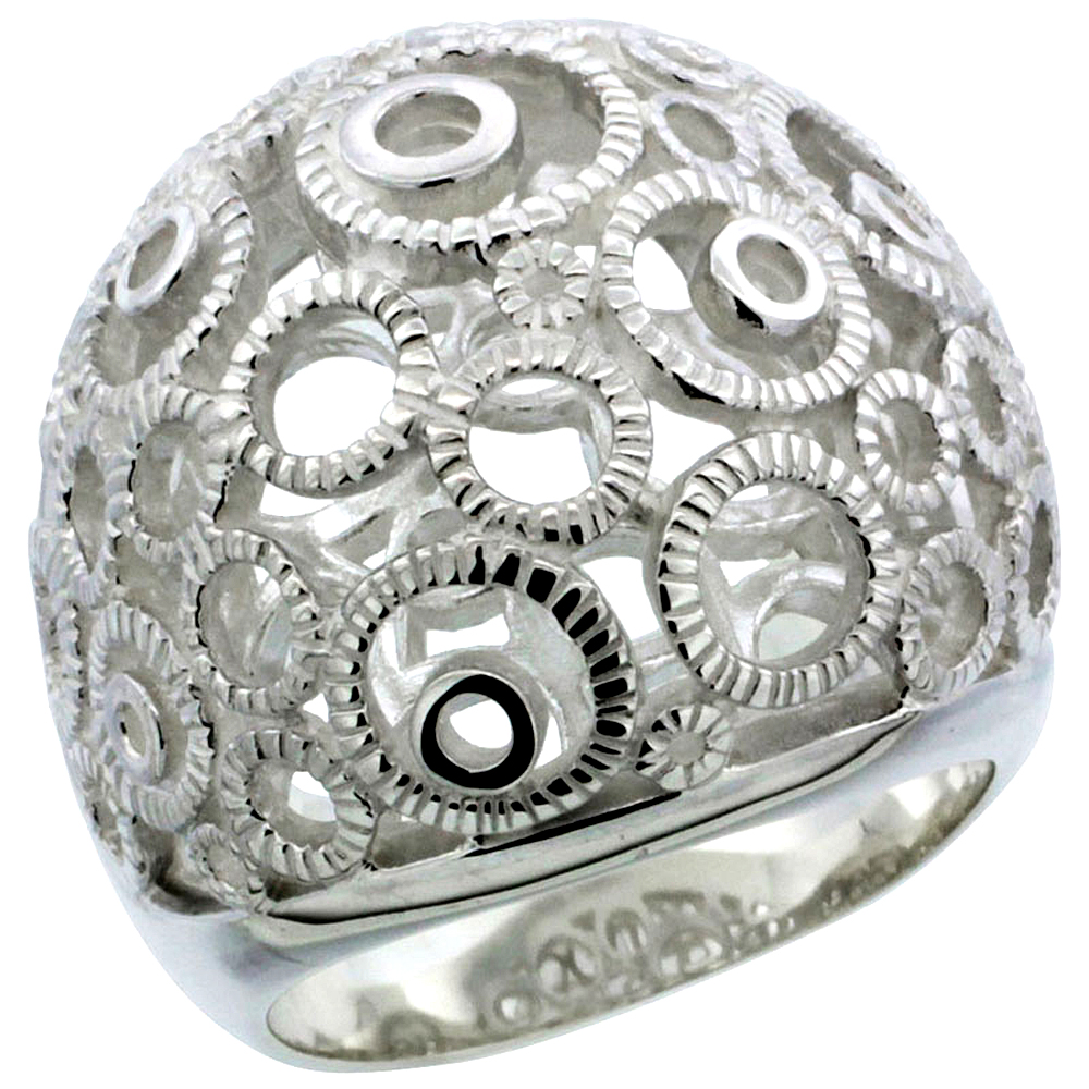 Ladies Sterling Silver Large Bubbly Circles Gallery Ring 7/8 inch wide, sizes 6 - 10