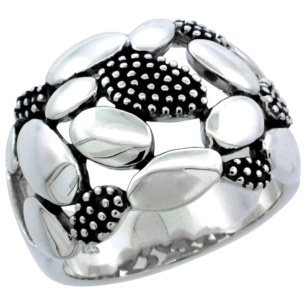 Ladies Sterling Silver Ring High Polished Plain & Beaded Oval 5/8 inch wide, sizes 6 - 10