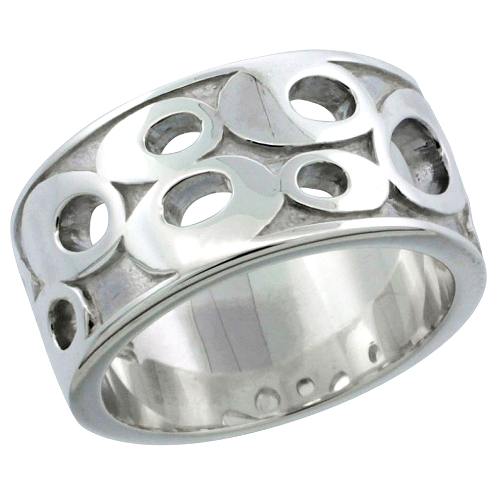 Ladies Sterling Silver High Polished Ring Oval Shapes 3/8 inch wide, sizes 6 - 10