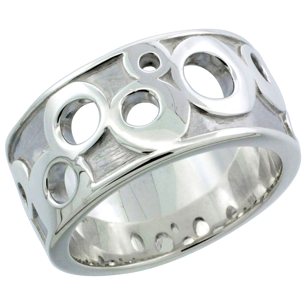 Ladies Sterling Silver High Polished Ring Circles 3/8 inch wide, sizes 6 - 10