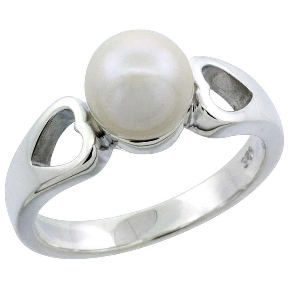 Sterling silver Pearl Ring for Women Double Heart Cut Out 1/4 inch wide sizes 5-10