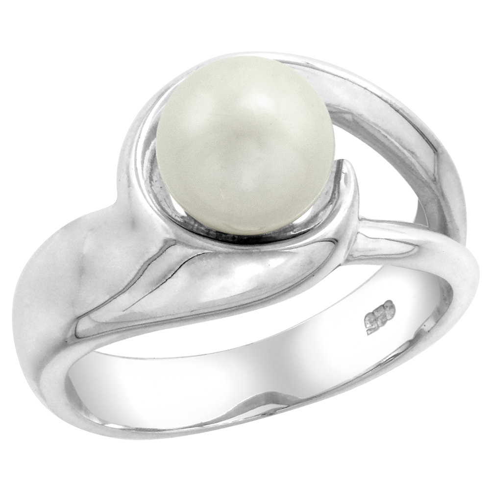 Sterling silver Pearl Ring for Women Swirl 1/2 inch wide sizes 5-10
