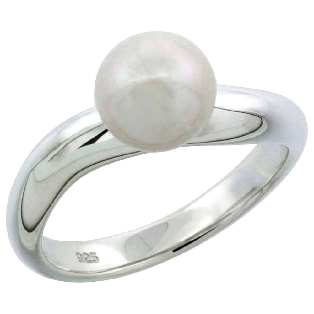 Sterling silver Pearl Ring for Women Wavy Shank 7.5mm 1/8 inch wide sizes 5-10