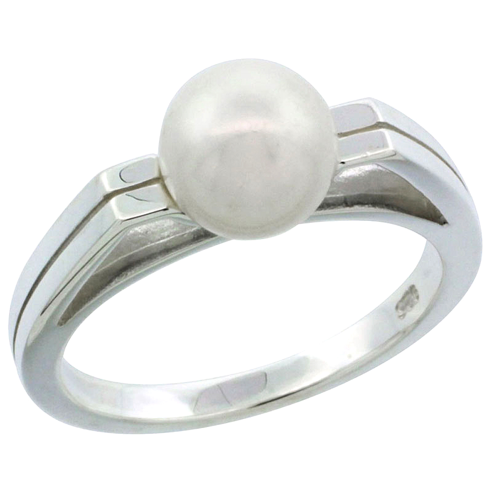 Sterling silver Pearl Ring for Women Grooved 1/8 inch wide sizes 5-10