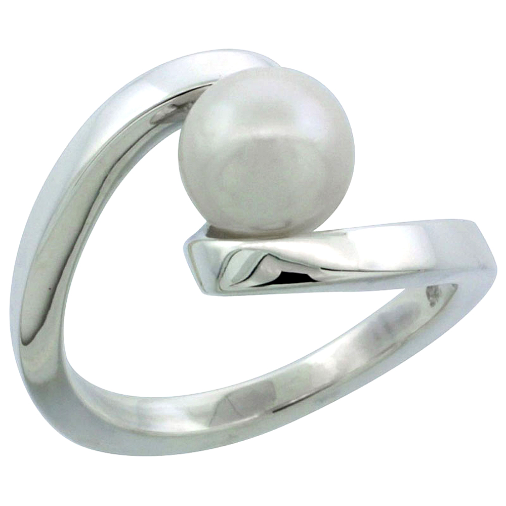 Sterling silver Pearl Ring for Women Swirl 7/16 inch wide sizes 5-10