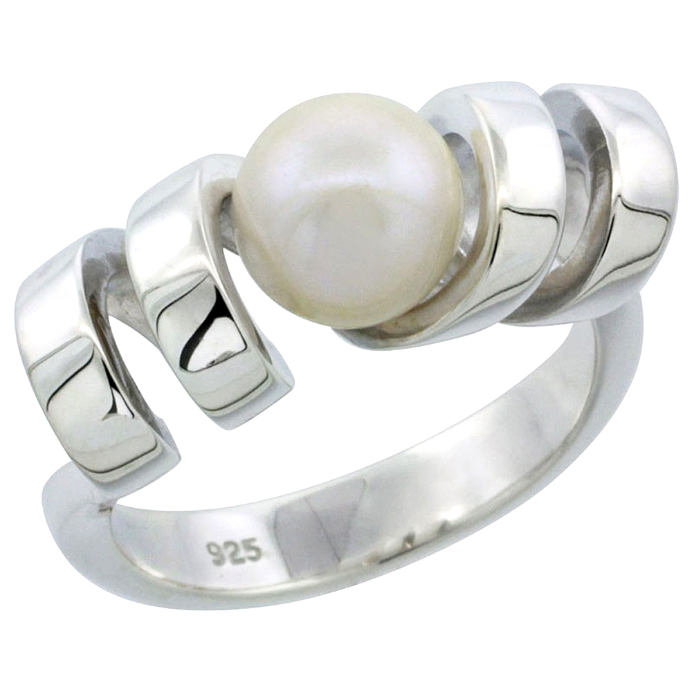 Sterling silver Pearl Ring for Women Corkscrew Spiral 5/16 inch wide sizes 5-10