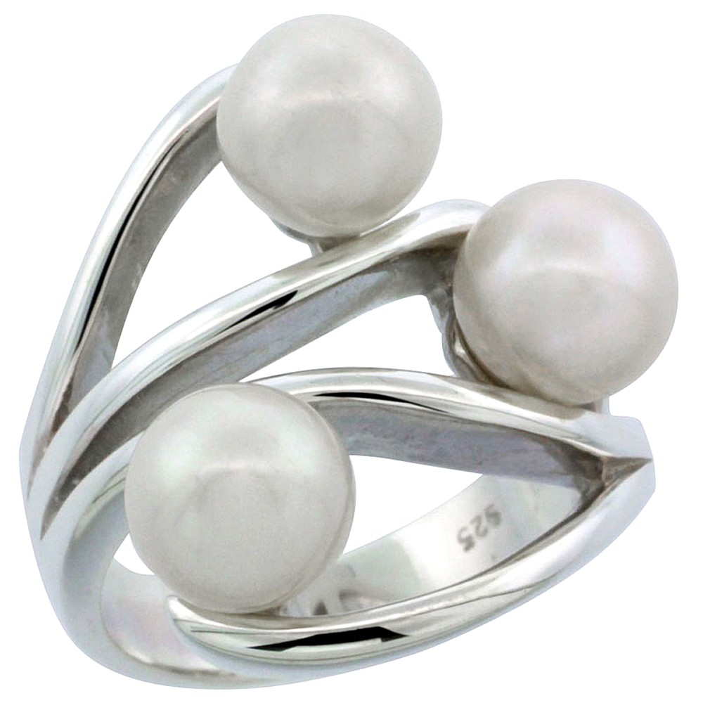 Sterling Silver Silver Triple Pearl Ring for Women 7/8 inch wide sizes 5-10