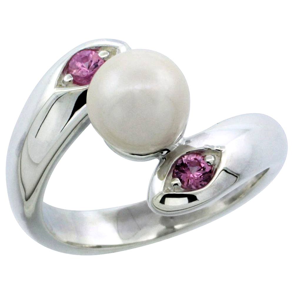 Sterling silver Bypass Pearl Ring for Women Amethyst Cubic Zirconia Accent 5/8 inch sizes 5- 10