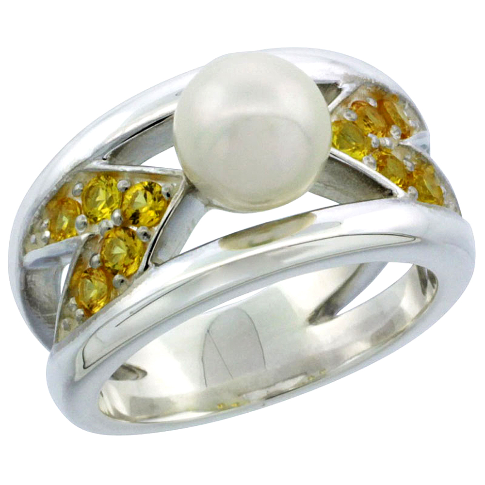 Sterling Silver Pearl Ring for Women Chevron Pattern Citrine CZ Accent 7/16 inch Sizes 5 to 10