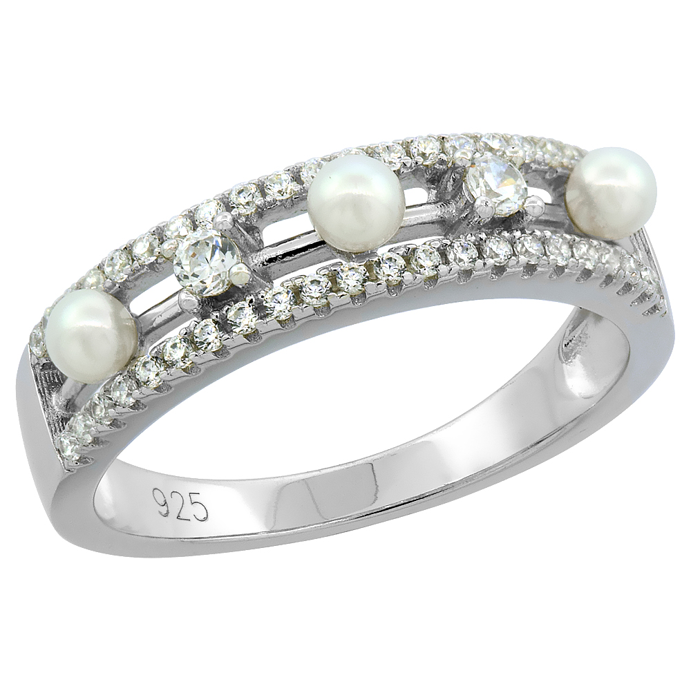 Sterling Silver 3 Pearl Ring for Women Cubic Zirconia Accent 3/16 inch sizes 6 to 9