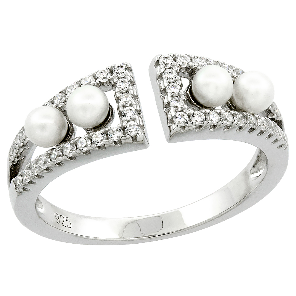 Sterling Silver 4 Pearl Ring for Women Cubic Zirconia Accent 1/4 inch sizes 6 to 9