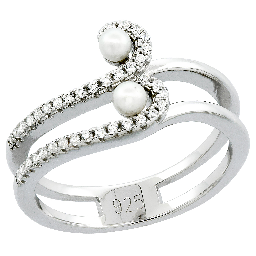 Sterling Silver 3 Pearl Wave Ring for Women Cubic Zirconia Accent 7/16 inch sizes 6 to 9