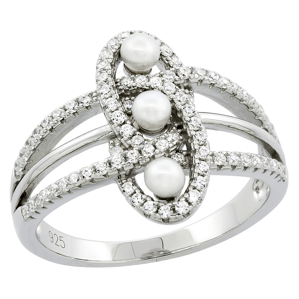 Sterling Silver 3 Pearl Knot Ring for Women Cubic Zirconia Accent 5/8 inch sizes 6 to 9