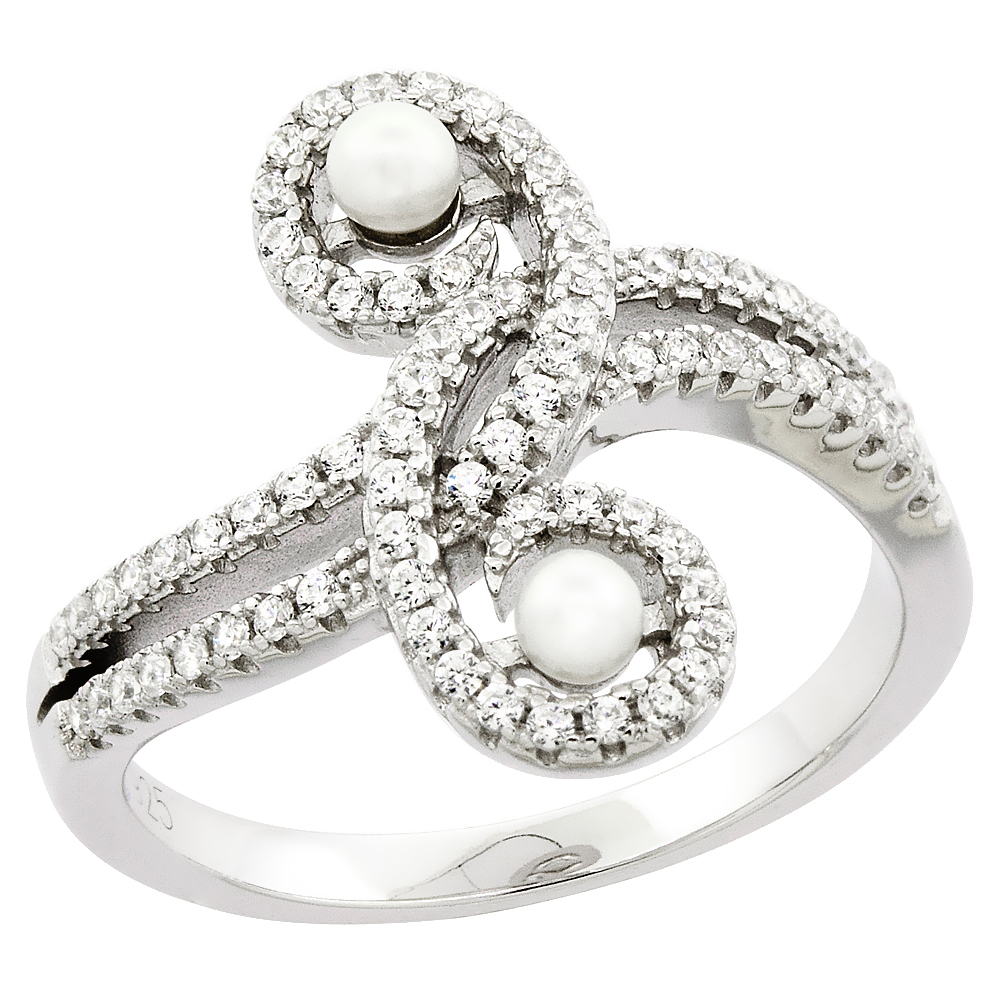 Sterling Silver 2 Pearl Swirl Ring for Women Cubic Zirconia Accent 3/4 inch sizes 6 to 9