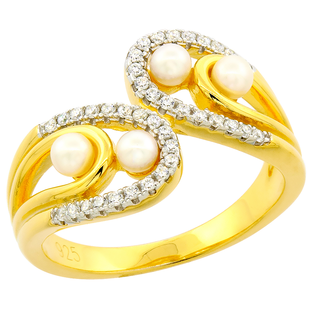 Sterling Silver Pearl Bypass Ring for Women Cubic Zirconia Accent Gold Plated 1/2 inch sizes 6 to 9
