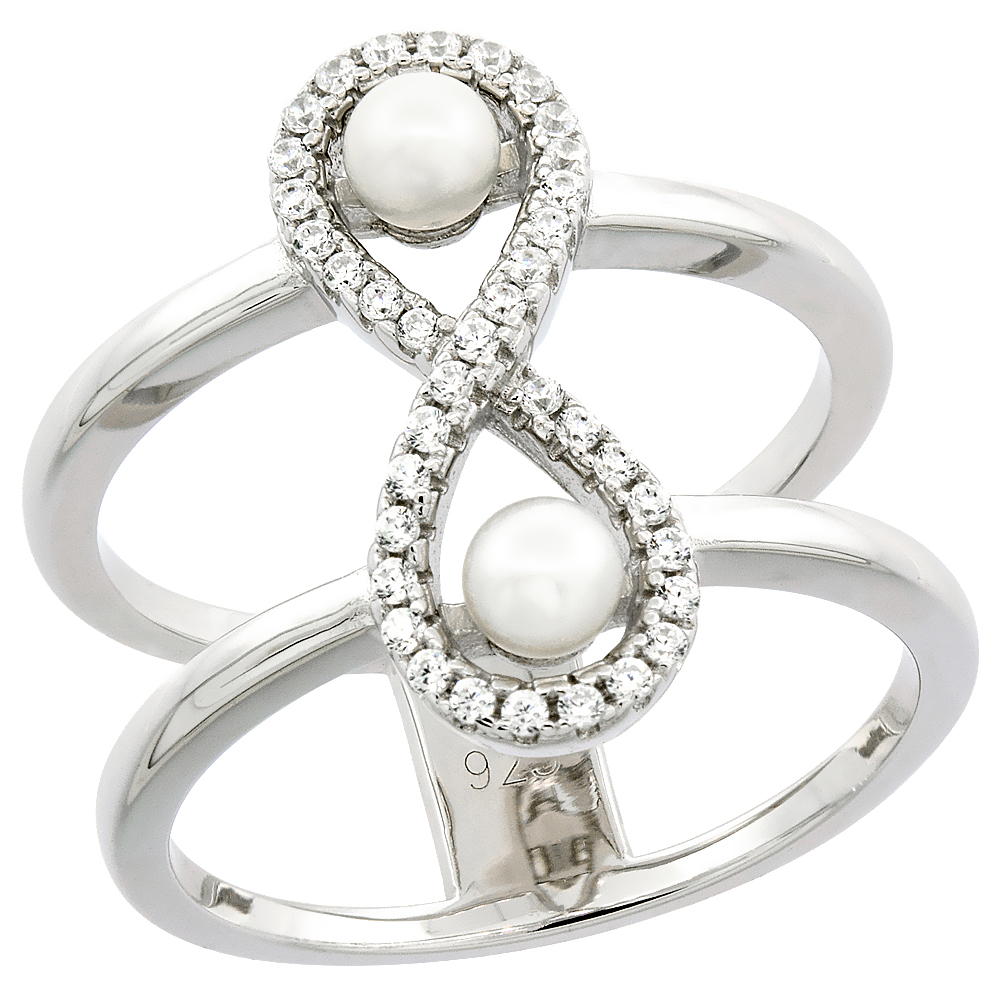 Sterling Silver 2 Pearl Infinity Ring for Women Cubic Zirconia Accent 3/4 inch sizes 6 to 9