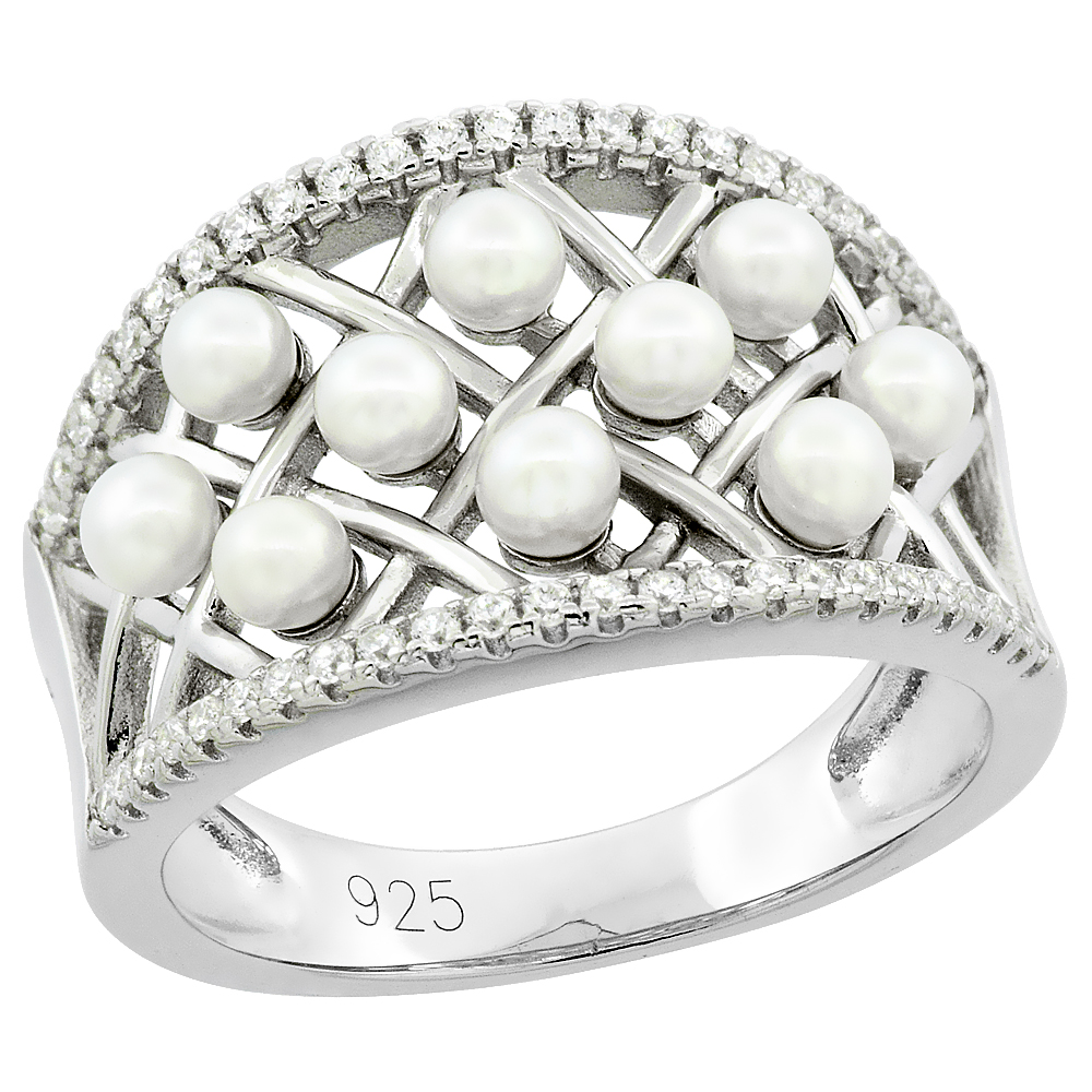 Sterling Silver Cigar Band Pearl Ring for Women Cubic Zirconia Accent 9/16 inch sizes 6 to 9