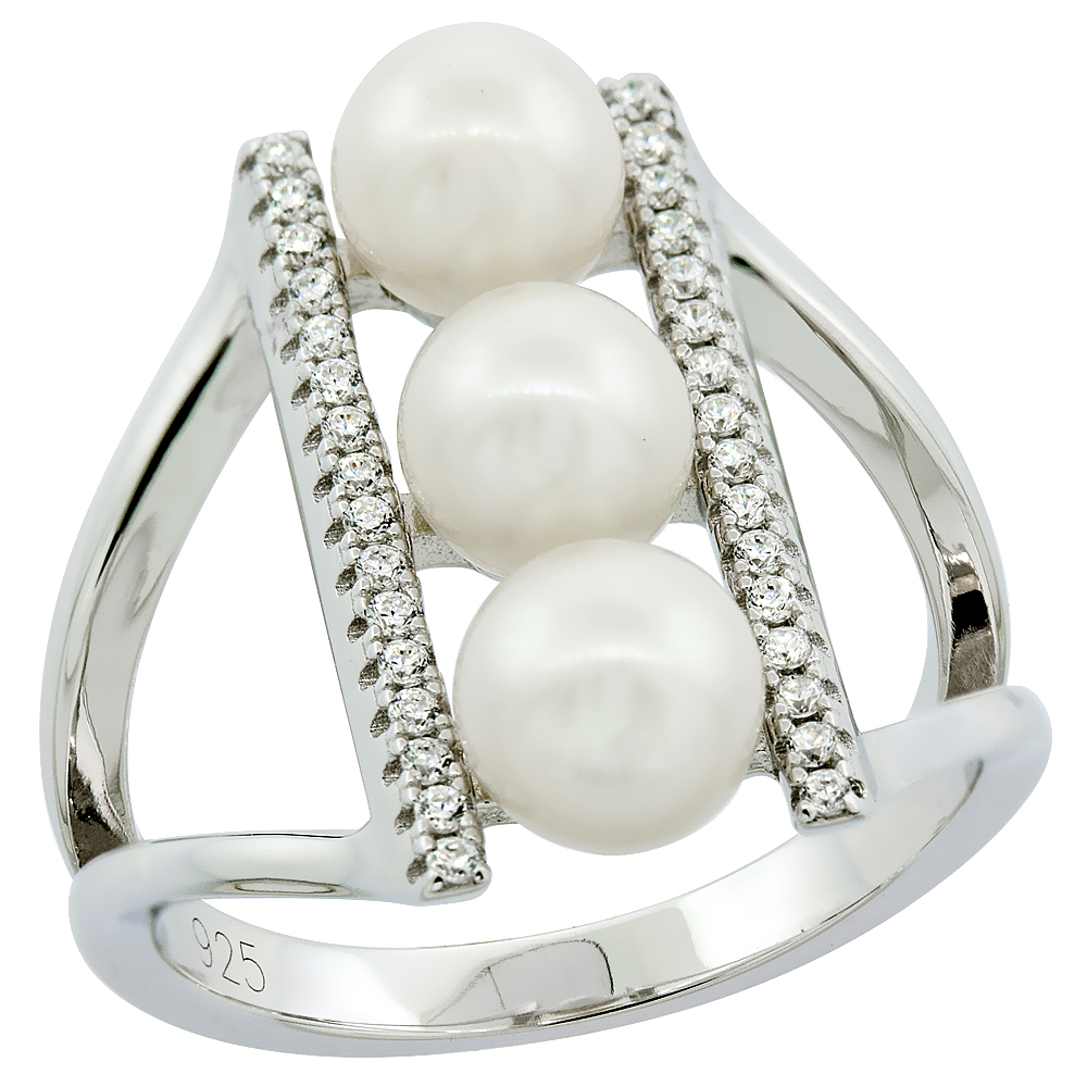 Sterling Silver 3 Pearl Ring for Women Cubic Zirconia Accent 3/4 inch sizes 6 to 9