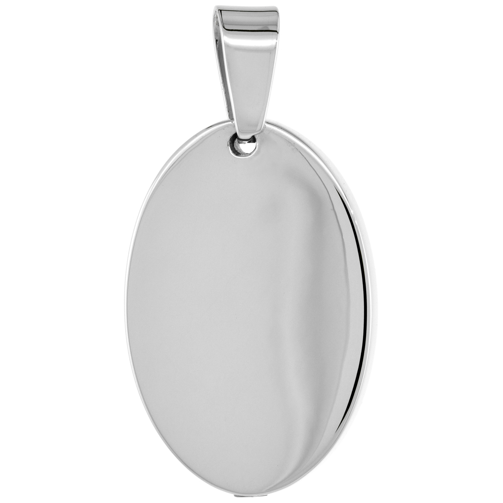Sterling Silver Oval Ash Screw-on Pendant, 1 3/16 inch wide