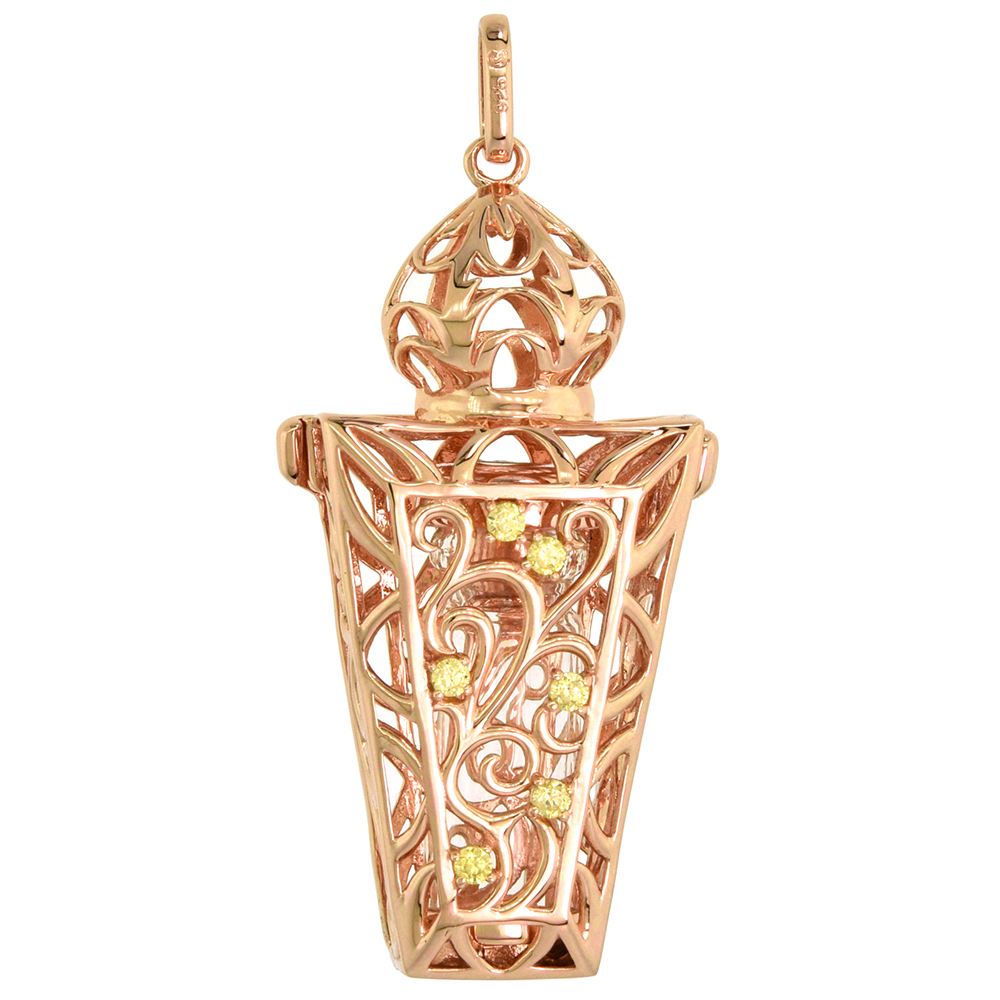 Sterling Silver Prayer Box / Urn Pendant Scroll Motif Yellow CZ Rose Gold Finish, 1 7/16 inch