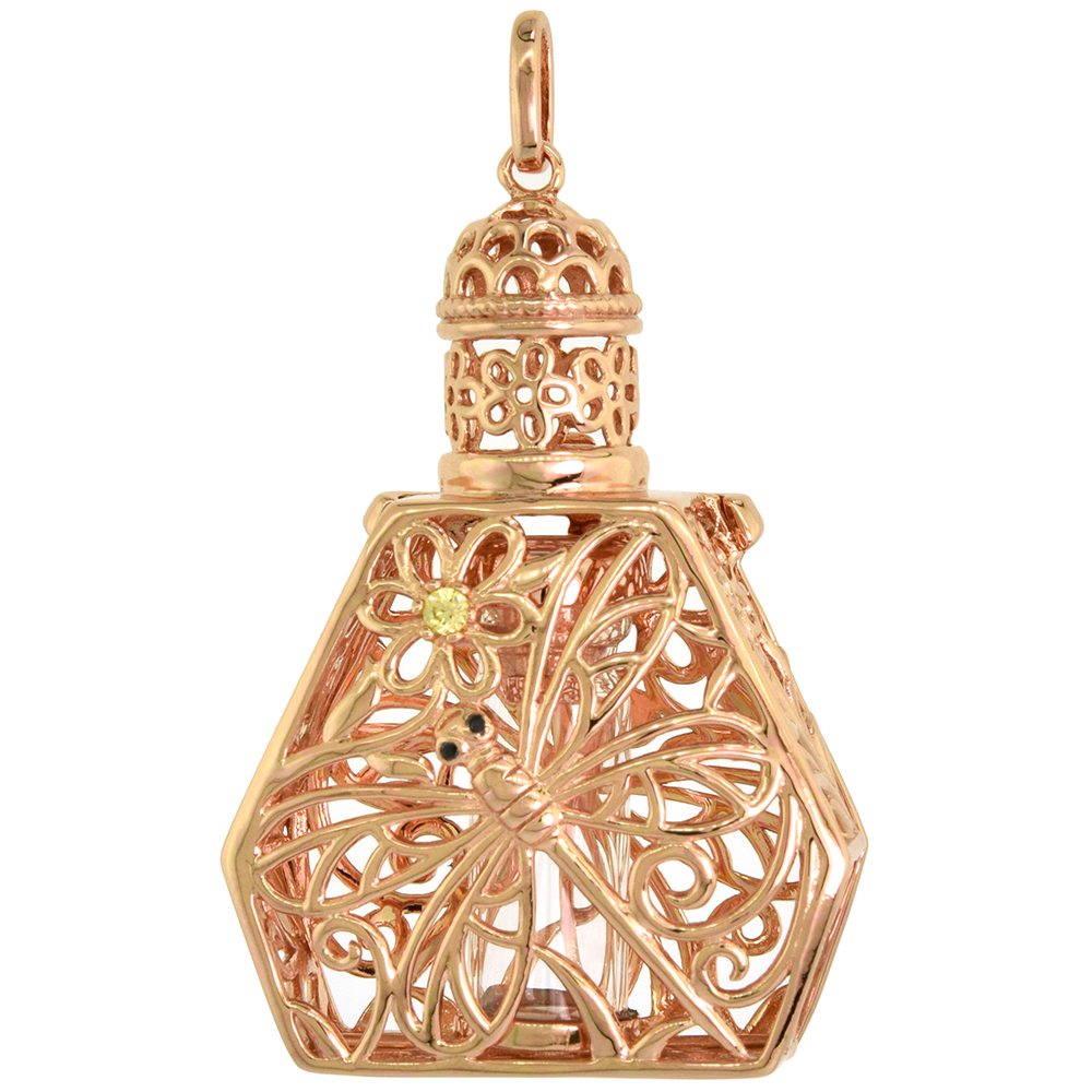 Sterling Silver Prayer Box / Urn Pendant Dragonfly Flower Motif Black Yellow CZ Rose Gold finish, 1 1/2 inch