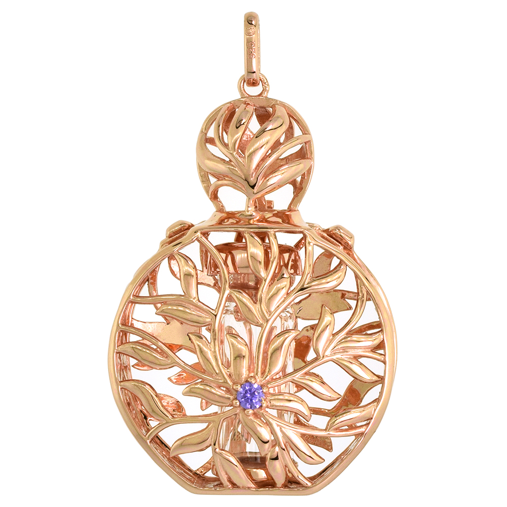 Sterling Silver Prayer Box / Urn Pendant Floral Motif Purple CZ Rose Gold Finish, 1 7/16 inch