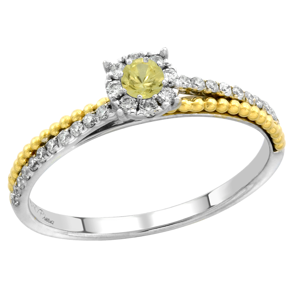 14k White Gold Diamond Halo Yellow Sapphire Solitaire Engagement Ring Round Brilliant cut 3mm, size 5-10