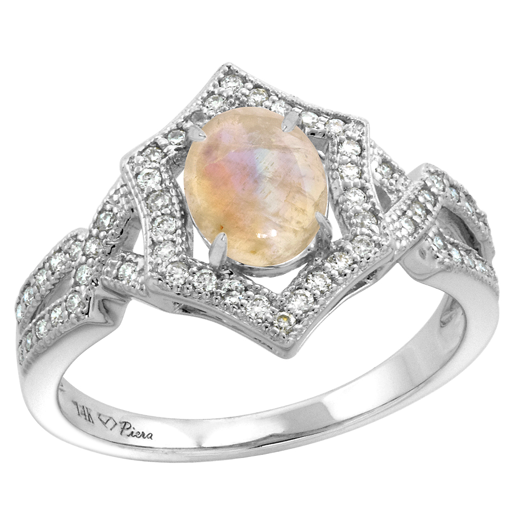 14k White Gold Diamond Halo Genuine Rainbow Moonstone Engagement Ring Hexagonal Oval 8x6mm, size 5-10