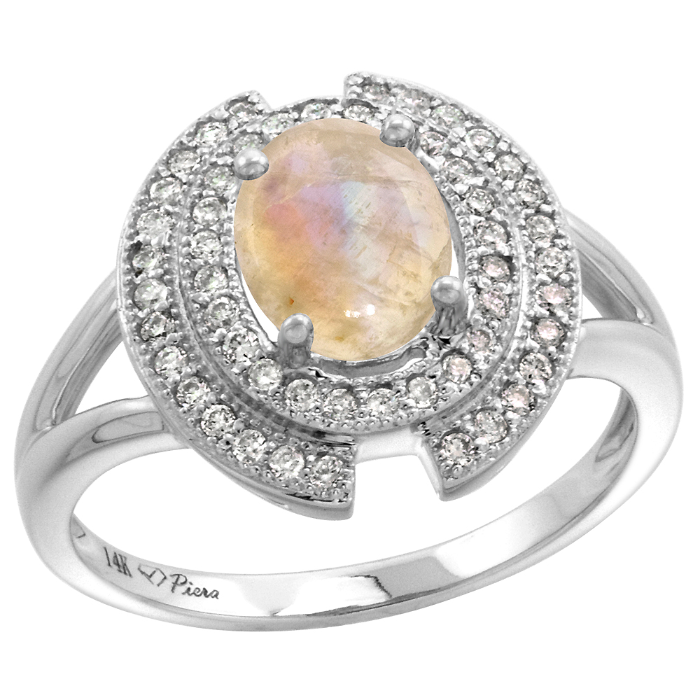 14k White Gold Diamond Halo Genuine Rainbow Moonstone Engagement Ring Oval 8x6mm, size 5-10