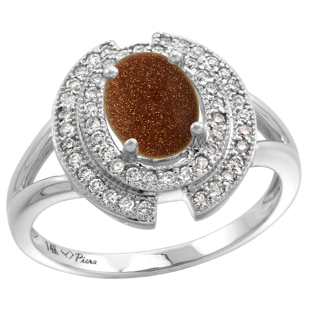 14k White Gold Diamond Halo Genuine Goldstone Engagement Ring Oval 8x6mm, size 5-10