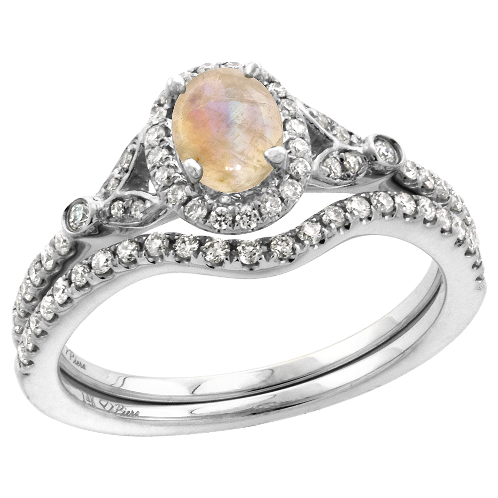 14k White Gold Diamond Genuine Rainbow Moonstone Halo Engagement Ring Set 2 Piece Oval 7x5mm, size 5-10
