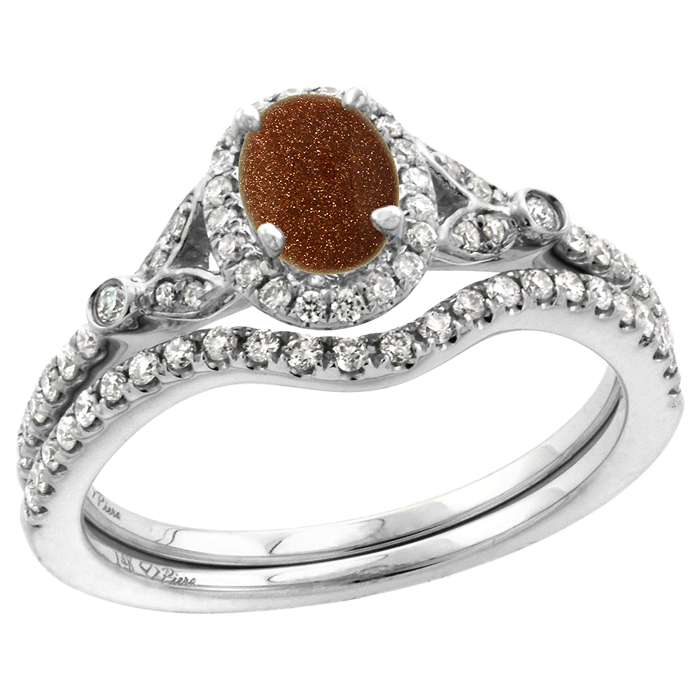 14k White Gold Diamond Genuine Goldstone Halo Engagement Ring Set 2 Piece Oval 7x5mm, size 5-10