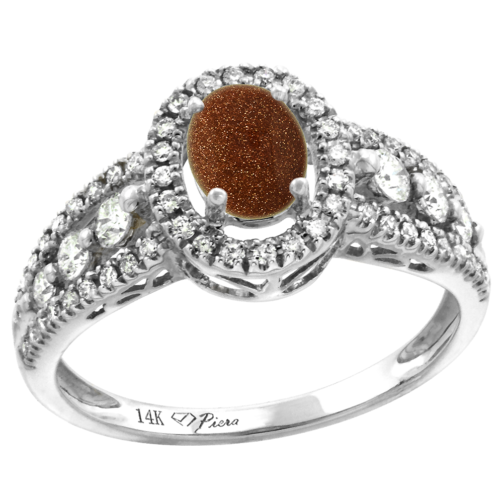 14k White Gold Diamond Genuine Goldstone Halo Engagement Ring Oval 7x5mm, size 5-10