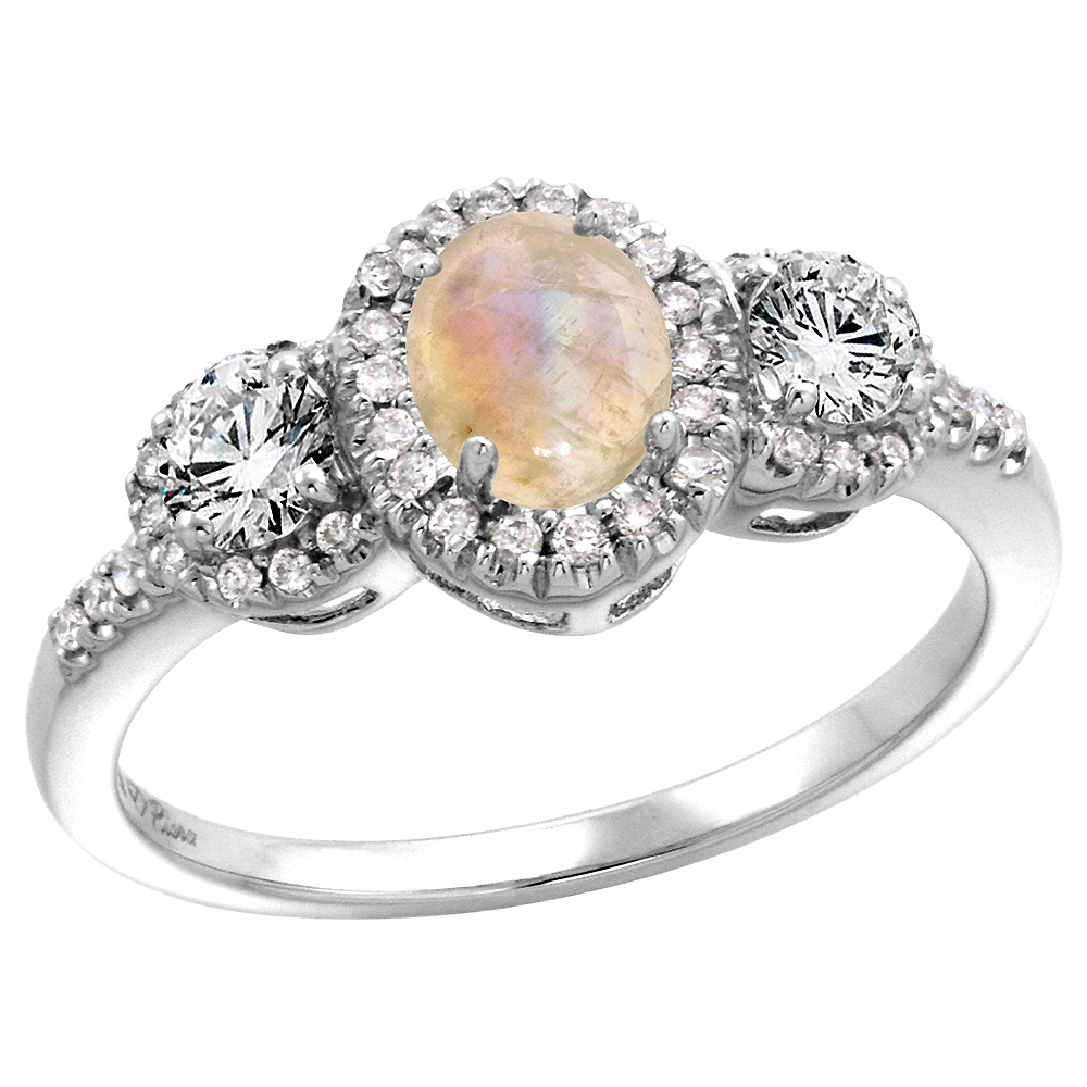 14k White Gold Diamond Genuine Rainbow Moonstone Halo Engagement Ring Oval 7x5mm, size 5-10