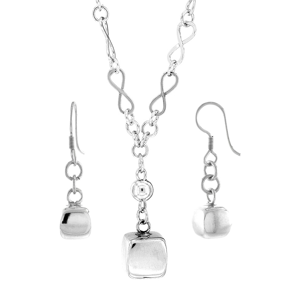 Sterling Silver Cube Toggle Necklace and Earring Set