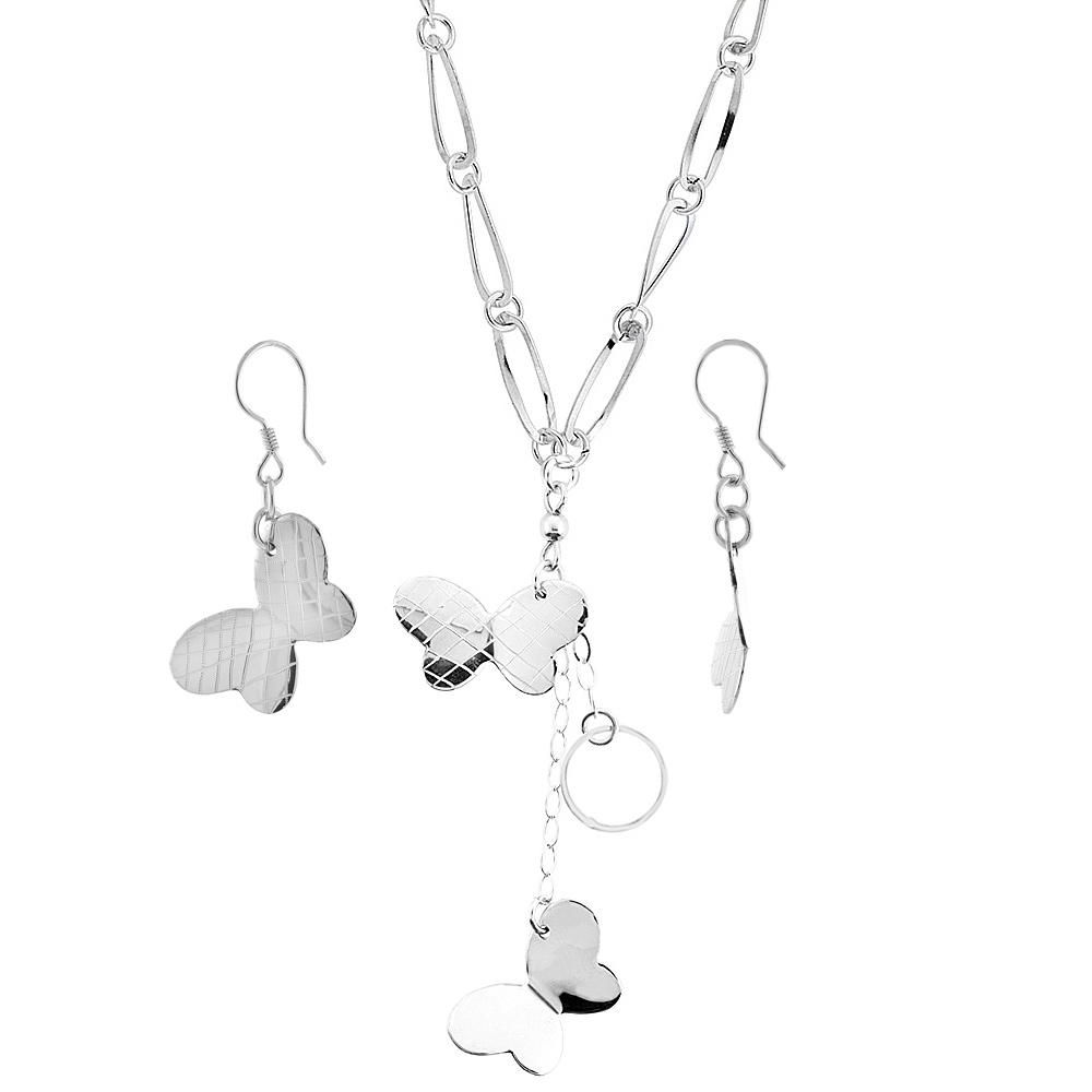 Sterling Silver Butterflies Toggle Necklace and Earring Set