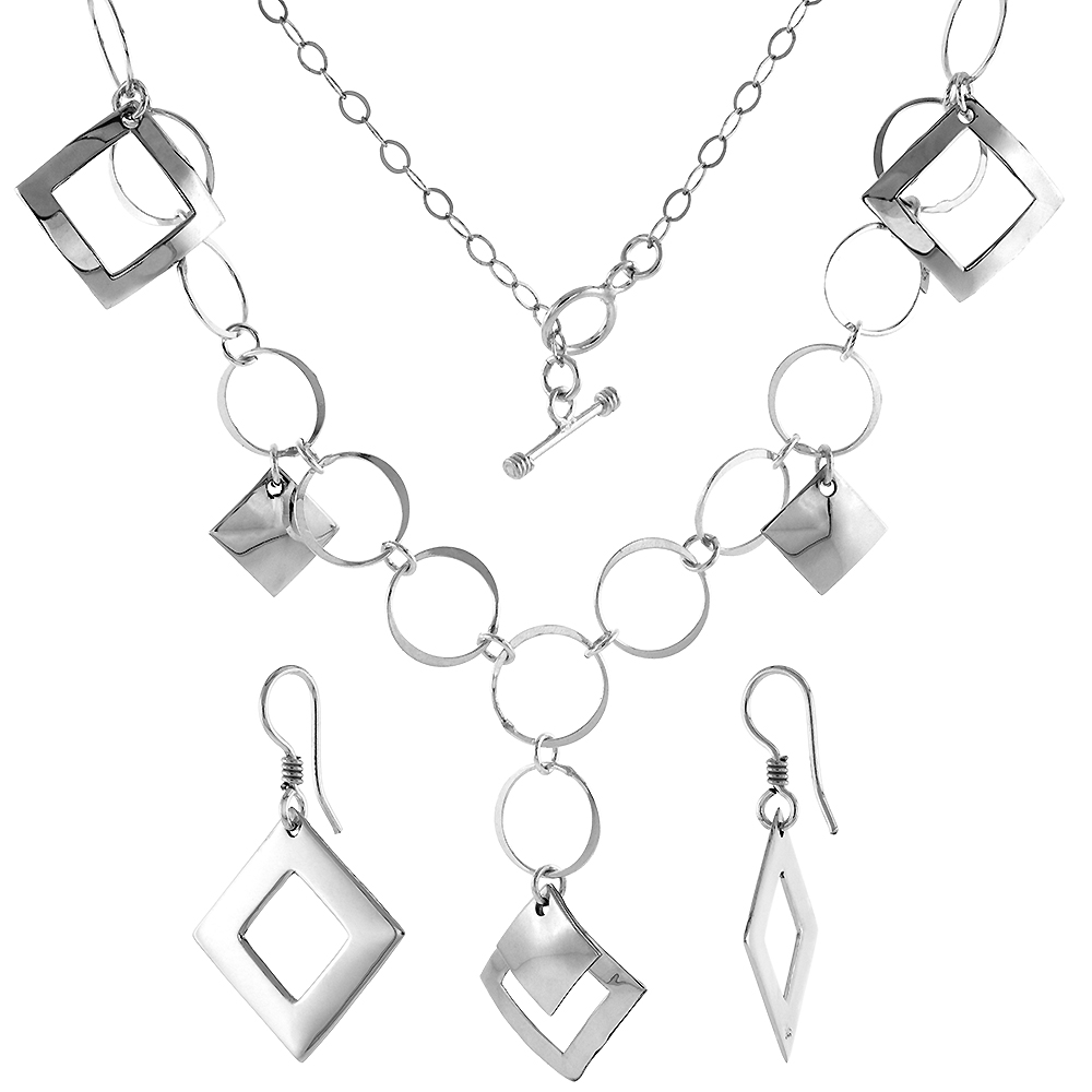 Sterling Silver Geometric Square Toggle Necklace and Earring Set