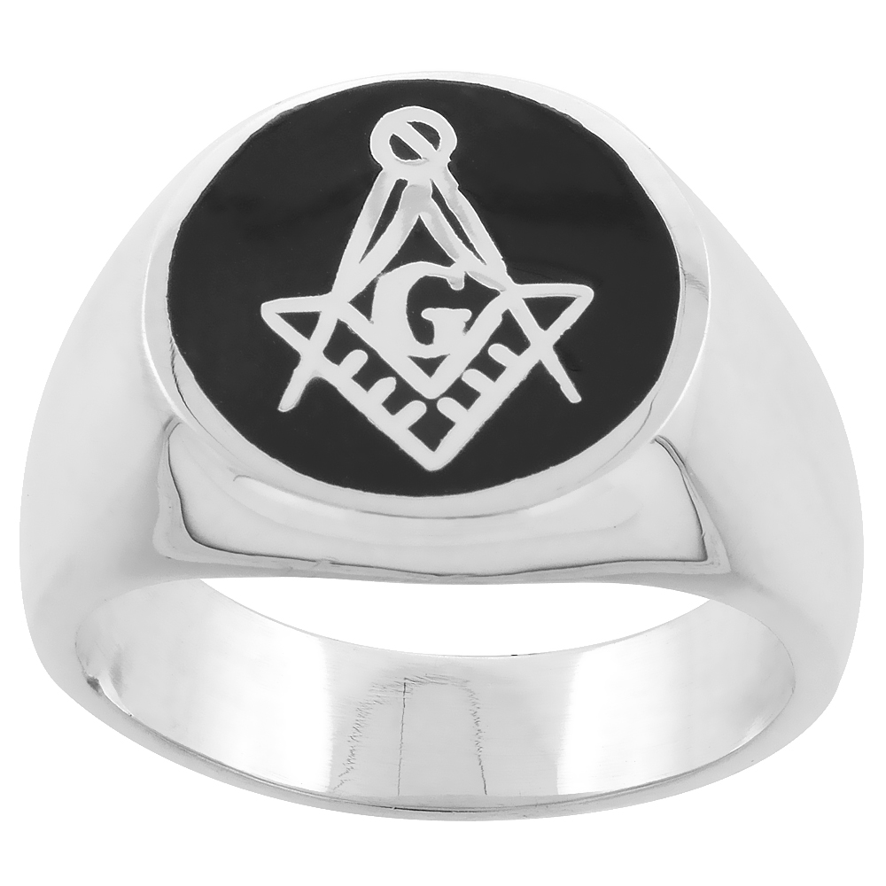 Sterling Silver Masonic Square and Compass Ring Black Resin Inlay 16mm wide, sizes 8 - 13
