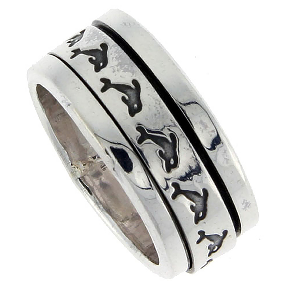 Sterling Silver Men's Spinner Ring Dolphin Pattern Flat Center Handmade 3/8 inch wide,