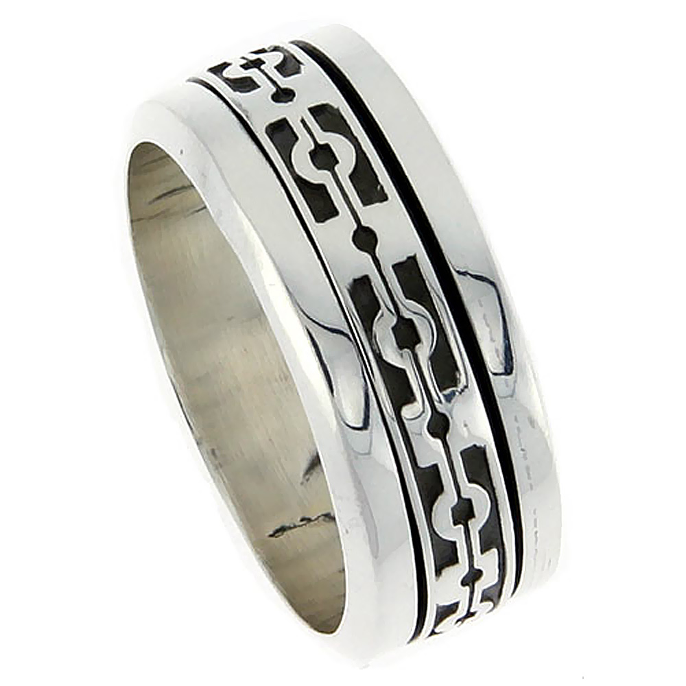 Sterling Silver Mens Spinner Ring Native American Pattern Center Handmade 3/8 inch wide,